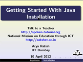 Getting started java Installation - thumb