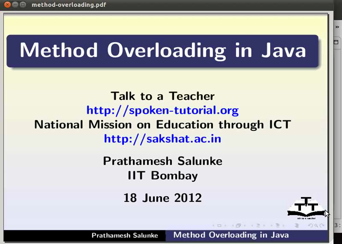 Method overloading - English | spoken-tutorial org