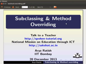 Subclassing and Method Overriding