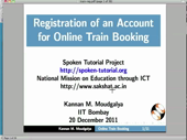 Registration of an account for online train ticket booking