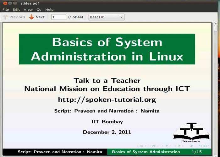 Basics of System Administration - Telugu   spoken-tutorial org