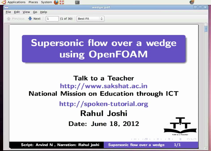Supersonic flow over a wedge - English | spoken-tutorial org