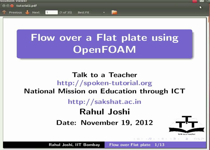 Flow over a flat plate - English | spoken-tutorial org