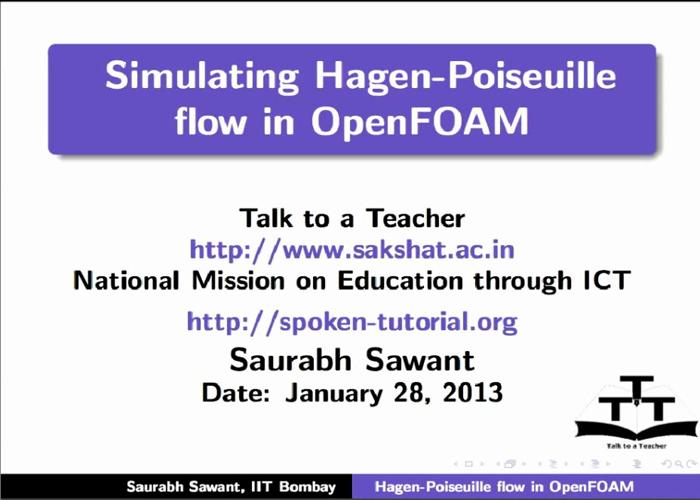 Simulating Hagen Poiseuille flow - English | spoken-tutorial org