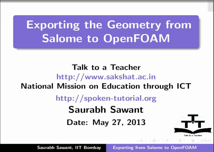Exporting geometry from Salome to OpenFOAM - English | spoken