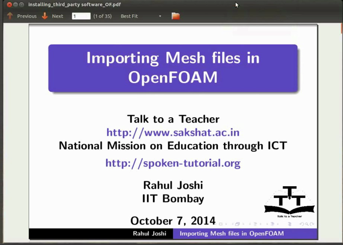 Importing mesh file in OpenFOAM - Hindi | spoken-tutorial org