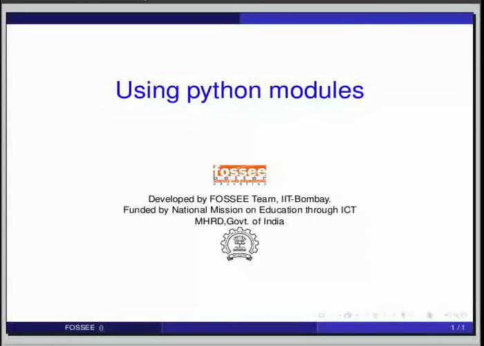 Using python modules - English | spoken-tutorial org