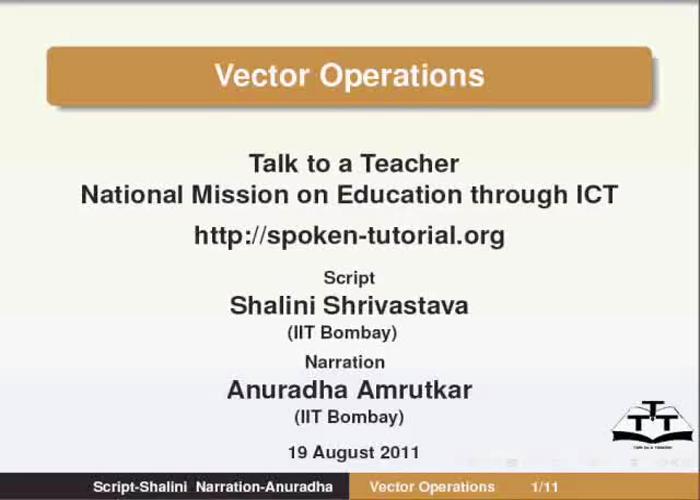 Vector Operations - English | spoken-tutorial org