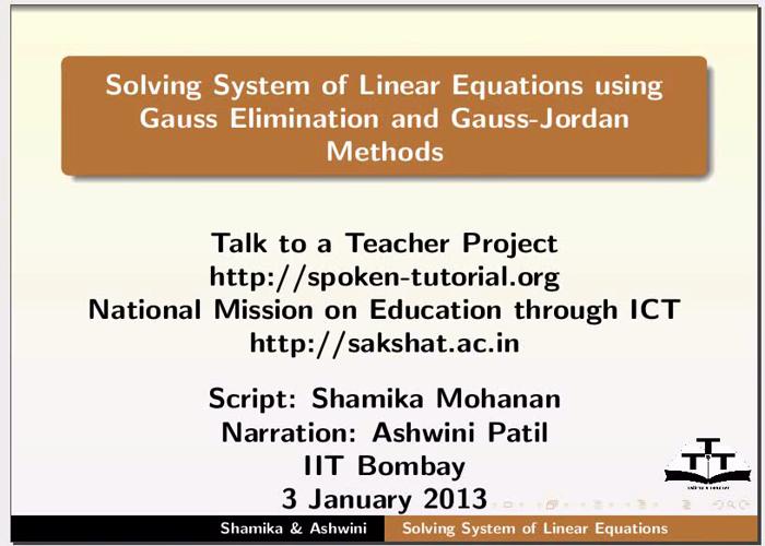 Linear equations Gaussian Methods - English   spoken-tutorial org