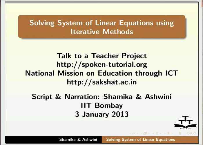 Linear equations Iterative Methods - English | spoken-tutorial org