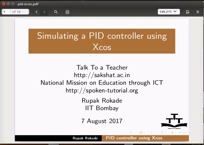 Simulating a PID controller using XCOS - English | spoken-tutorial org