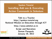 Installation of Add ons and selenium action commands