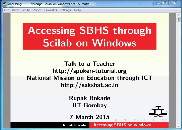 Accessing SBHS through Scilab on Windows - English | spoken