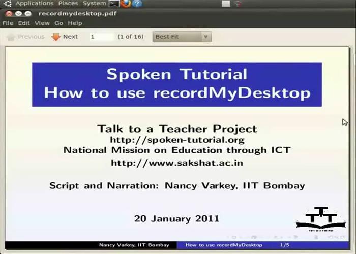 Creation of a spoken tutorial using recordMyDesktop
