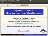Creation of a spoken tutorial using recordMyDesktop - thumb