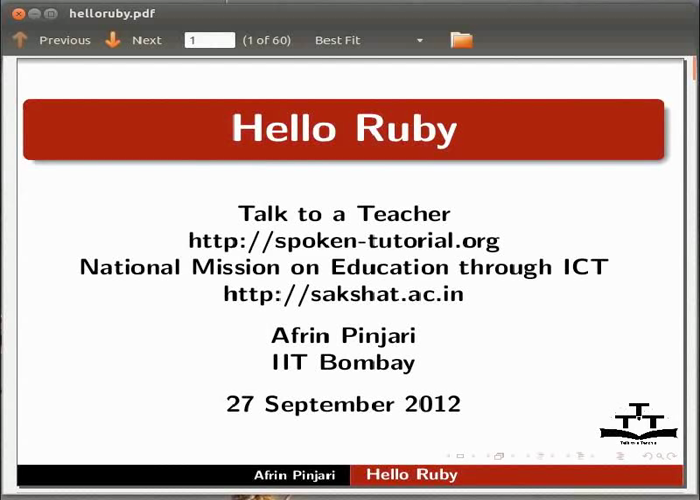 Hello Ruby - English | spoken-tutorial org