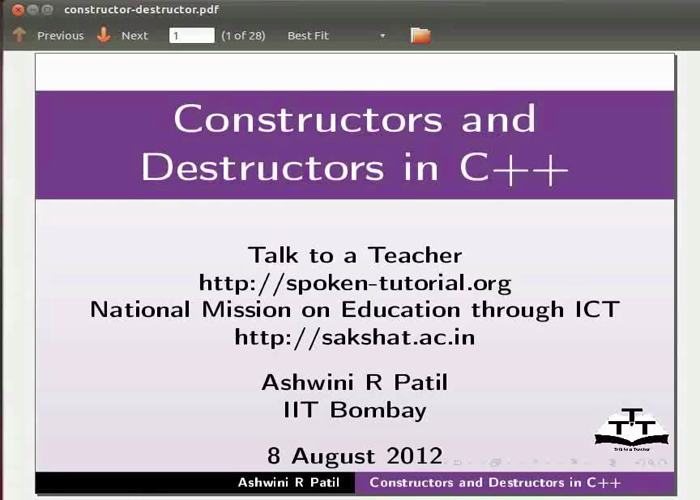Constructor And Destructor - Marathi | spoken-tutorial org
