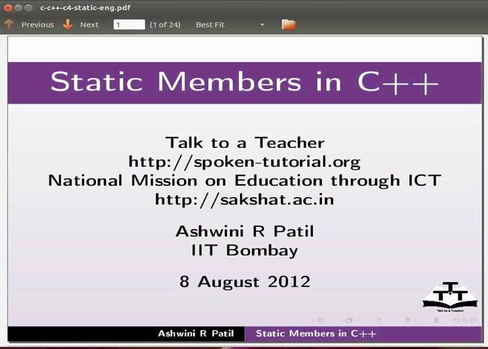Static Members - Tamil   spoken-tutorial org