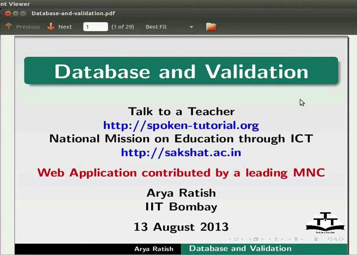 Database and validation - English | spoken-tutorial org