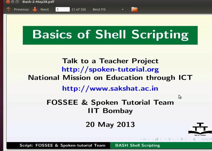 Basics of Shell Scripting - Tamil   spoken-tutorial org