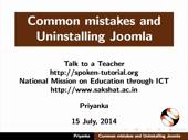 Common mistakes and uninstalling Joomla - thumb