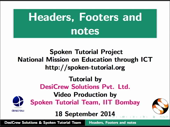 Headers Footers and Notes