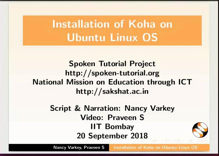 Koha installation on Linux 16 04 - English | spoken-tutorial org