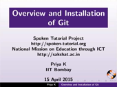 Overview and Installation of Git