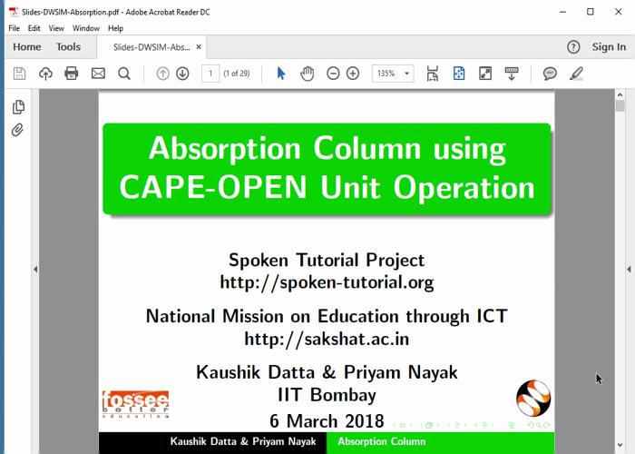 Absorption Column - English | spoken-tutorial org