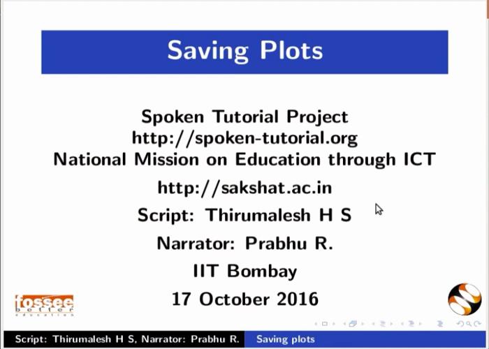 Saving plots - English | spoken-tutorial org